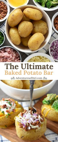 Baked Potato Bar ideas for your next party, family get together, or potluck. There s nothing quite like a baked potato loaded with delicious toppings. Get creative and have a little fun choosing all the fixings for your own baked potato buffet. Bbq Baked Potatoes, Baked Potato Bar, Baked Potato Toppings Bar, Stuffed Potatoes, Baked Potato Recipes, Sandwich Buffet, Nacho Bar, Cooking For A Crowd, Potatoes
