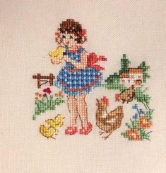 """Finished cross stitch on 14 ct white aida cotton cloth,about blank room around the four sides. with 2 strands of DMC cotton floss, design size(stitched area) is abou x 5 """" cm x cm/ all stitches cross in the same direction Hand Work Embroidery, Cross Stitch Embroidery, Cross Stitch Charts, Cross Stitch Patterns, Halloween Cross Stitches, Beatrix Potter, Cross Stitch Flowers, Needlework, Kids Rugs"""