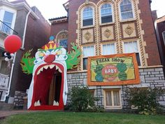 Clown mouth entryway and #freakshow banner for our #ahs #halloween party. Inspiration and templates from #keithcorcoran
