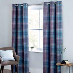 Mauve Norfolk Check Woven Eyelet Curtains | Dunelm