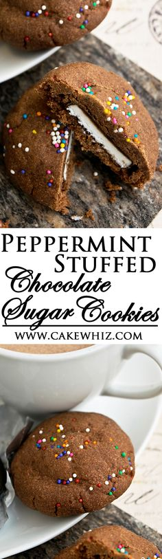 These PEPPERMINT STUFFED CHOCOLATE SUGAR COOKIES are unbelievably delicious! Crispy on the outside and soft and minty on the inside! Perfect for gifting during the holidays! From cakewhiz.com