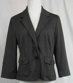 Halogen Knit Blazer Women's Dark Charcoal Grey Size Petite Medium Unlined | eBay