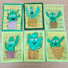 Art with Mr. Giannetto: Cactus Friends - Art with Mr. Giannetto: Cactus Friends Informations About Art with Mr. Summer Art Projects, School Art Projects, Garden Projects, Craft Projects, Cactus Craft, Cactus Cactus, Indoor Cactus, Cactus Decor, Cactus Terrarium
