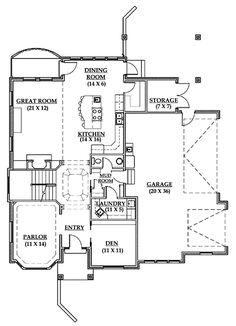 First Floor Plan of European   House Plan 79894