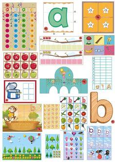 Letterpakket bij de letter a en b, 10 verschillende educatieve spellen van juf Petra