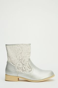 Lace Insert Ankle Boots
