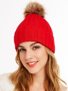 4d073ded75 Shop Red Pom Pom Ribbed Knit Hat online. SheIn offers Red Pom Pom Ribbed  Knit
