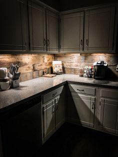 Rustic Kitchen Pallet Backsplash Wallpaper With Dark Cabinets