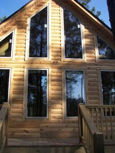 Log Cabin Siding direct from the manufacturer in Flomaton, AL - Southern Wood Specialties - P: 251-296-2556 Heart Pine Flooring, Pine Floors, Log Cabin Siding, Exterior Siding, Home Repairs, Clear Heart, Southern, Homes, Cabin Ideas