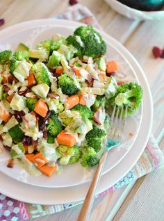 Warm Broccoli Salad with Skinny Green Goddess