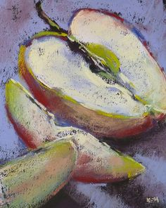 Apples Still Life Original Pastel Painting 9x12 by Karen Margulis psa