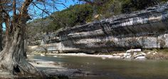 The Guadalupe River flows beneath bluffs it has carved from Texas Hill Country limestone in the state park that bears its name, west of Spring Branch.