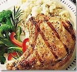 Quick & Easy Recipe: American's Fave Pork Chops  Ingredients:      4 Fresh Bone-in Thick Center Cut Loin Chops, 3/4 cup Italian salad dressing,1 teaspoon Worcestershire sauce