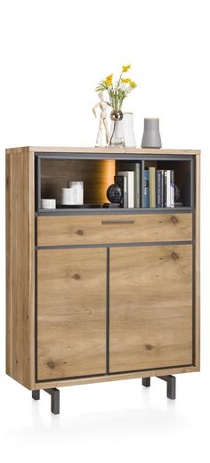 Otta, highboard 105 cm with LED-lightning & Tramwood fronts