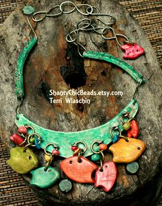 Fish Hooks.  Part of my handmade poly clay hook collar collection.  By Terri Wlaschin
