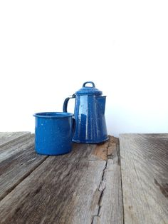 vintage 1960s Blue Speckled Enamel Camping Set / coffee for one / Mug and Coffee Pot Set