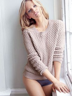 Fall morning wake-up call: slipping on a classic crewneck. | Victoria's Secret Crewneck Pullover Sweater