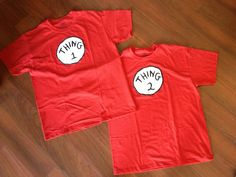 Thing 1 and Thing 2 shirts for mom and dad for Halloween (little one was Cat in the Hat). Got image from Google, painted onto scrap of white t shirt using glass table with light underneath, cut, and appliquéd onto red shirts. Took an hour total for both (excluding paint dry time).
