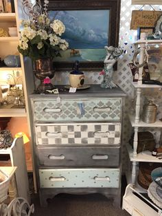 antique hand painted dresser at booth 36 knot on main st dunedin fl.