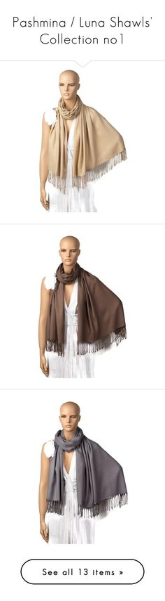 """""""Pashmina / Luna Shawls' Collection no1"""" by lunashawls on Polyvore featuring accessories, scarves, wrap scarves, wrap shawl, shawl scarves, bridal shawl, brown scarves, brown shawl, gray shawl and grey scarves"""