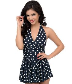 Vintage Inspired Swimsuit:  1950s Style Black & White Dotted Marilyn Swimdress