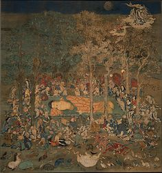 Death of the Historical Buddha (Nehan-zu) Period: Kamakura period (1185–1333) Date: 14th century Culture: Japan Medium: Hanging scroll; ink, gold, and mineral pigments on silk Dimensions: Overall: 77 1/2 x 74 1/4 in. (196.9 x 188.6 cm) Overall with knobs: 130 x 86 1/4 in. (330.2 x 219.1 cm)