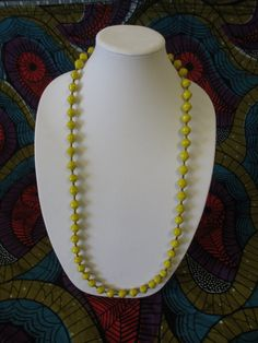 18 inch Long Yellow African Paper Bead Necklace, African Necklace, African Jewelry, Fair Trade Necklace, Fair Trade Jewelry, Gift for Her
