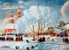 """Shrovetide"" - by Boris Kustodiev, ~Oil Russian Culture, Russian Art, Russian Style, Winter Art, Winter Time, Renaissance, Gothic, Great Paintings, Thinking Day"
