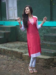 Pink Cotton Readymade Kurti 66305
