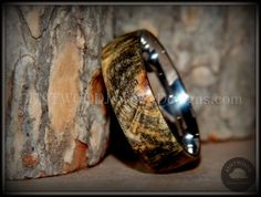 Bentwood Buckeye Burl Wood Ring Stainless Steel Comfort Fit Metal Ring - Bentwood Wood Rings - Custom handcrafted wooden rings both durable and unique