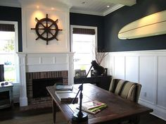 You don't need to live by the beach to enjoy a nautical home. Get your own nautical home decor today with these ideas. Fresh Living Room, Coastal Living Rooms, Living Room Decor Nautical, Seaside Bedroom, Nautical Theme Decor, Deco Marine, Nautical Home, Nautical Office, Vintage Nautical