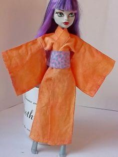 Hand Dyed Orange Doll Kimono/Yukata Pink Blue by CuteWeirdFluffy, $14.99