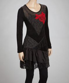 Take a look at this Black & Red Flower Tiered Tunic by Aziza on #zulily today!