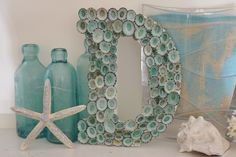 Beach Cottage Seashell Decor Limpet Shell Letter - Aqua           $52.00