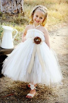 Flower Girl Tutu Dress Wedding Tutu Dress Empire by ChicSomethings Flower Girl Tutu, Lace Flower Girls, Lace Flowers, Flower Girl Dresses, Bridesmaid Flowers, Wedding Bridesmaids, Bridesmaid Dresses, Junior Bridesmaids, Wedding Dresses