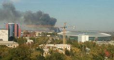 """#donetsk #донецк #citystreetsфото #citystreetsновости Недалеко от стадиона """"Донбасс-Арена"""" был виден столб дыма.   Отмечается, что возгорание произошло в микрорайоне Гладковка. По данным МЧС, причиной происшествия стало возгорание камышей."""