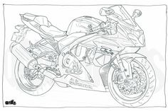 Adult Colouring Page - Motorcycle Illustration - Motorcycle Coloring - Suzuki GSXR1000 by DailyBikers on Etsy