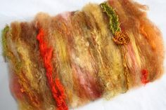 Summer Sunflowers Spinning Fiber Art Textured Batt by reneeknits