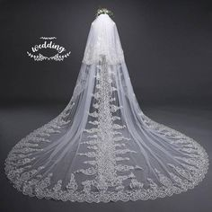 Cathedral White Wedding Veil with EmbroideryWhite Bridal   Etsy Ivory Wedding Veils, Cathedral Wedding Veils, Wedding Sash Belt, Ivory Veil, Bridal Veils, Wedding Dresses, Tulle Wedding, Bridal Lace, Wedding Attire