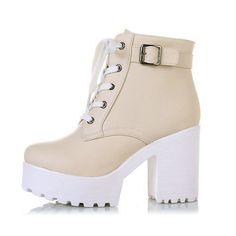 3 cores de inverno Lace Up mulheres Sexy botas de plataforma de moda punk de salto alto quadrados preta Ankle Boots fivela Plus Size 34   43 preto em Botas de Sapatos no AliExpress.com | Alibaba Group