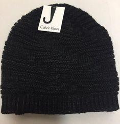 1110ab6e525 New Calvin Klein Knit Beanie Black Gray Hat