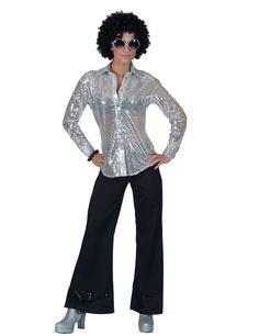 db6488d19a74 Silverfärgad discoskjorta med paljetter - Maskeraddräkt för vuxna, köp  Maskeradkläder för vuxna på Vegaoo.