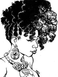 natural hair drawings - Google Search