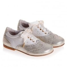 Gold & white leather brogues