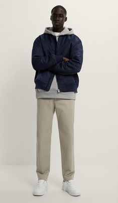 Blue Bomber Jacket, Stretch Chinos, Zara United States, Welt Pocket, Stretch Fabric, Stretches, Elastic Waist, Winter Jackets, Normcore