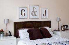 Framed Monograms in IKEA frames! The headboard is made from cabinet doors! Love to do this for my bedroom. Home Bedroom, Master Bedroom, Bedroom Decor, Wall Decor, Bedrooms, Bedroom Ideas, Headboard Decor, Bedroom Stuff, Wall Art