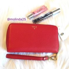 Fossil Sydney Zip phone wallet 100% Authentic Fossil Sydney Zip Phone Wallet Red Leather Wristlet. Fits iPhone 6  No trades or PP. MSRP:$70 + Tax Fossil Bags Clutches & Wristlets