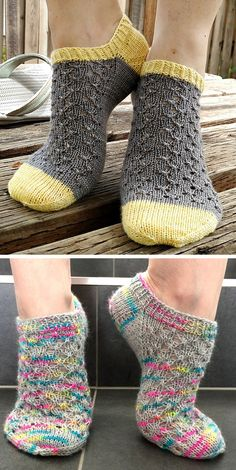 Knitted Ankle Socks with Lace - Free Pattern Easy Knitting Projects, Knitting Designs, Knitting Patterns Free, Free Knitting, Knitting Machine, Free Pattern, Selling Crochet, Knitting Socks, Knit Socks