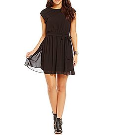 IN San Francisco ShutterPleated Cap Sleeve Dress #Dillards