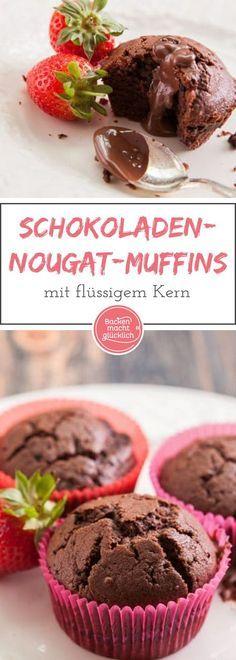 Wunderbar schokoladige Törtchen, die mit Nuss-Nougat-Creme gefüllt sind. Die Muffins eignen sich mit Eiscreme oder Früchten auch gut als Dessert.